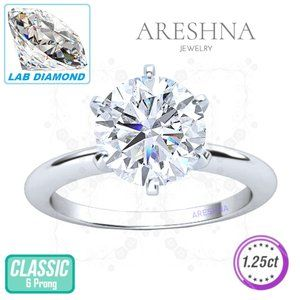 1.25ct Lab Diamond Round Cut Engagement Ring